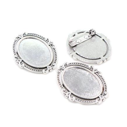 Cadru brosa argintie 26x21mm cabochon oval 18x13mm
