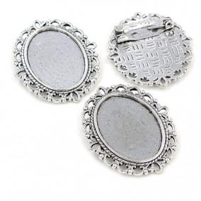 Cadru brosa argintie 27x22mm cabochon oval 18x13mm