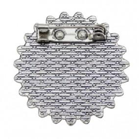 Cadru brosa argintie 33mm cabochon rotund 20mm