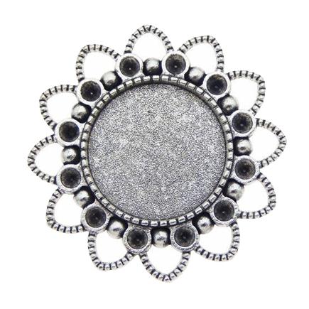 Cadru brosa argintie 37mm cabochon rotund 20mm