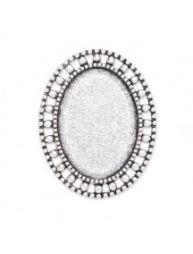 Cadru brosa argintie 37x27mm cabochon oval 25x18mm