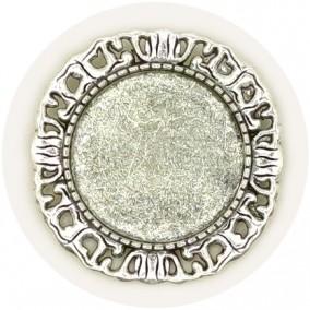 Cadru brosa argintie 38mm cabochon rotund 25mm