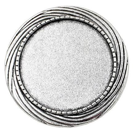 Cadru brosa argintie 40mm cabochon rotund 30mm