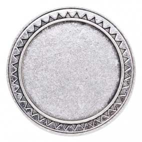 Cadru brosa argintie 40mm zigzag cabochon rotund 30mm