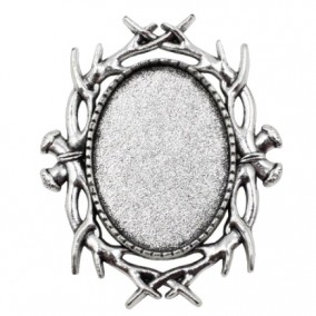 Cadru brosa argintie 40x33mm cabochon oval 18x13mm