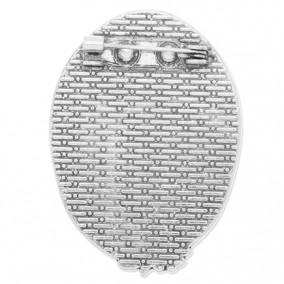 Cadru brosa argintie 41x30mm cabochon oval 30x20mm