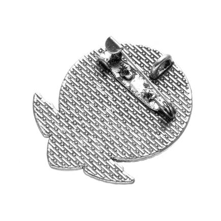 Cadru brosa argintie 44x22mm cabochon rotund 30mm