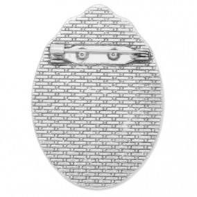 Cadru brosa argintie 48x35mm cabochon oval 35x25mm