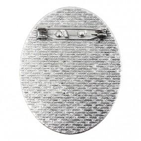 Cadru brosa argintie 48x40mm cabochon oval 40x30mm