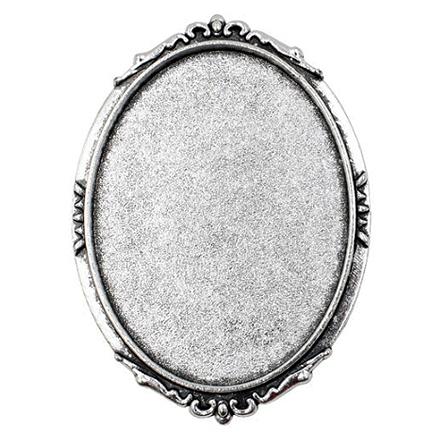 Cadru brosa argintie 50x36mm cabochon oval 40x30mm