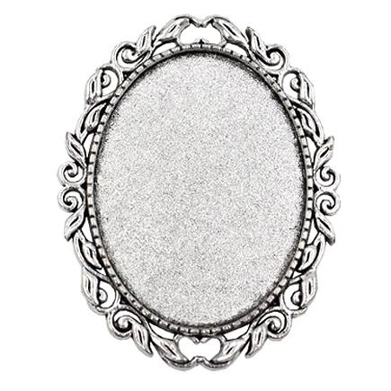 Cadru brosa argintie 52x40mm cabochon oval 40x30mm