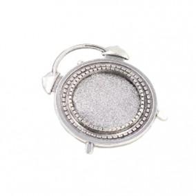 Cadru brosa argintie ceas 37x30mm cabochon rotund 20mm