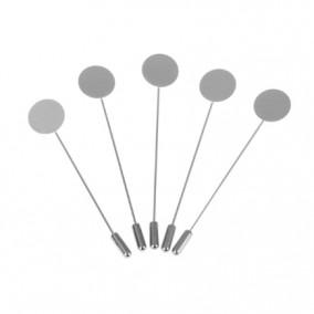 Cadru brosa argintie pin cu protectie 75mm cu platou pentru lipit 15mm