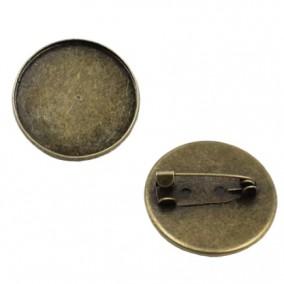 Cadru brosa bronz 22mm cabochon rotund 20mm