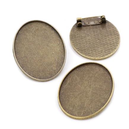 Cadru brosa bronz 32x22mm cabochon oval 30x20mm