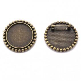 Cadru brosa bronz 34mm buline cabochon rotund 25mm