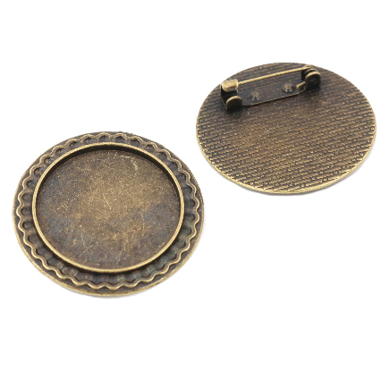 Cadru brosa bronz 34mm cabochon rotund 25mm