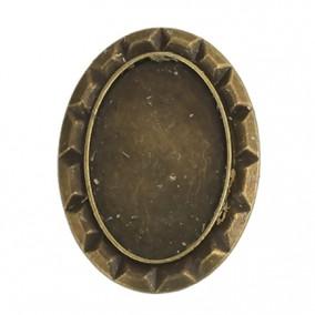 Cadru brosa bronz 40x30mm cabochon oval 30x20mm
