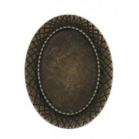 Cadru brosa bronz 41x31mm cabochon oval 30x20mm