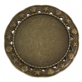 Cadru brosa bronz 42mm cabochon rotund 30m
