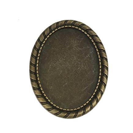 Cadru brosa bronz 43x33mm cabochon oval 35x25mm