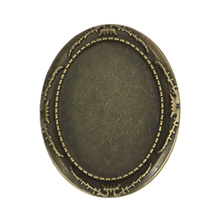 Cadru brosa bronz 45x35mm cabochon oval 35x25mm