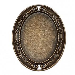 Cadru brosa bronz 47x37mm cabochon oval 35x25mm