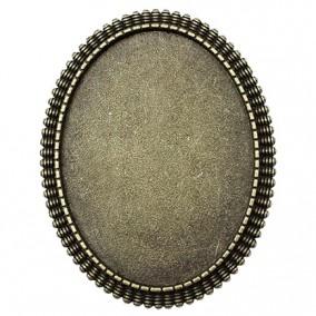 Cadru brosa bronz 48x38mm cabochon oval 40x30mm