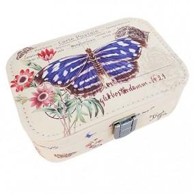 Caseta bijuterii piele ecologica fluture albastru 15x11x6cm