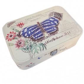 Caseta bijuterii piele ecologica fluture albastru 23x16x7cm