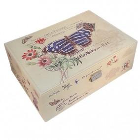 Caseta bijuterii piele ecologica fluture albastru 31x23x11cm