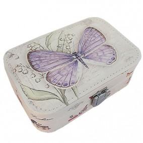 Caseta bijuterii piele ecologica fluture mov 15x11x6cm