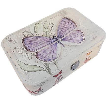 Caseta bijuterii piele ecologica fluture mov 23x16x7cm