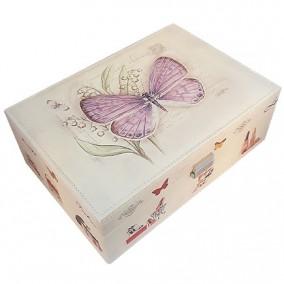 Caseta bijuterii piele ecologica fluture mov 31x23x11cm