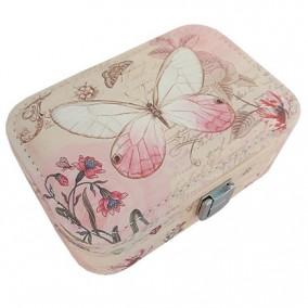 Caseta bijuterii piele ecologica fluture roz 15x11x6cm