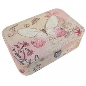 Caseta bijuterii piele ecologica fluture roz 23x16x7cm