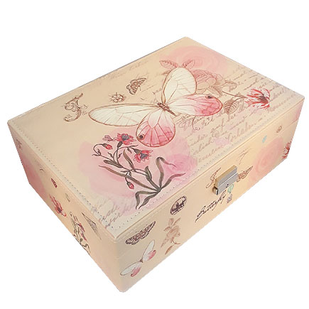 Caseta bijuterii piele ecologica fluture roz 31x23x11cm