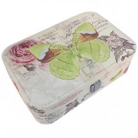 Caseta bijuterii piele ecologica fluture verde 23x16x7cm