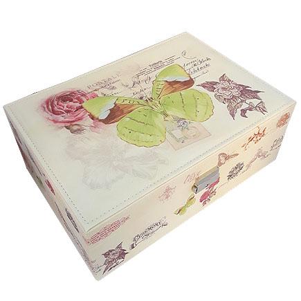 Caseta bijuterii piele ecologica fluture verde 31x23x11cm