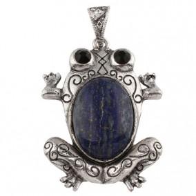 Pandantiv broasca cabochon lapis lazuli 38x61mm
