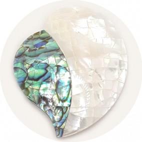 Pandantiv din sidef alb si abalone inima 45x35mm