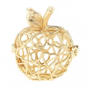 Pandantiv bola mar inimi galben auriu 32x27mm