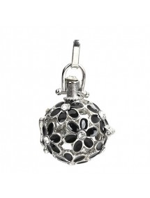 Pandantiv bola sfera argintie flori email negru 43x22mm
