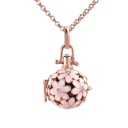 Pandantiv bola sfera aurie flori email roz alb 43x22mm