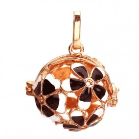 Pandantiv bola sfera auriu roscat flori email negru alb 35x22mm