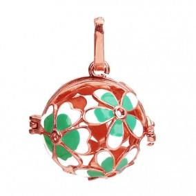 Pandantiv bola sfera auriu roscat flori email verde alb 35x22mm