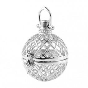 Pandantiv bola sfera gri argintiu 48x25mm