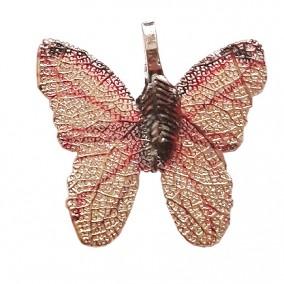 Pandantive electroplacate fluture aripi auriu rosu 27x30mm