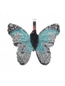 Pandantive electroplacate fluture aripi bleu argintiu 27x30mm