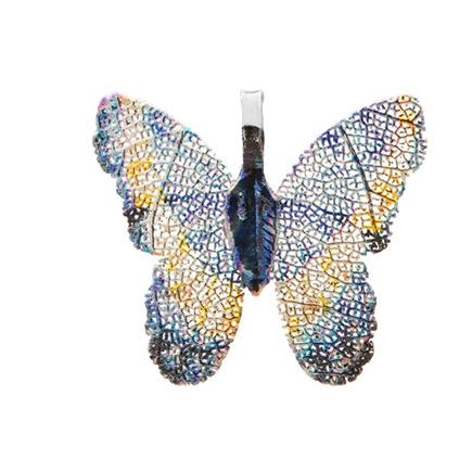 Pandantive electroplacate fluture aripi bleu galben 27x30mm